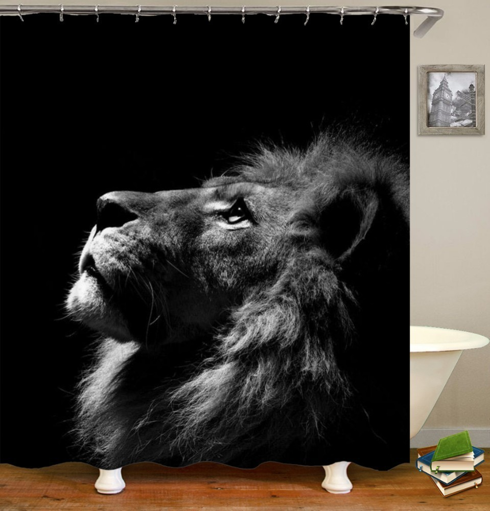 VOZRO 2 M Quality Proof 3d bathroom duschvorhang Manufacturing Lion pattern shower curtain douchegordijn pascoa cortina banheiro-in Shower Curtains from Home & Garden