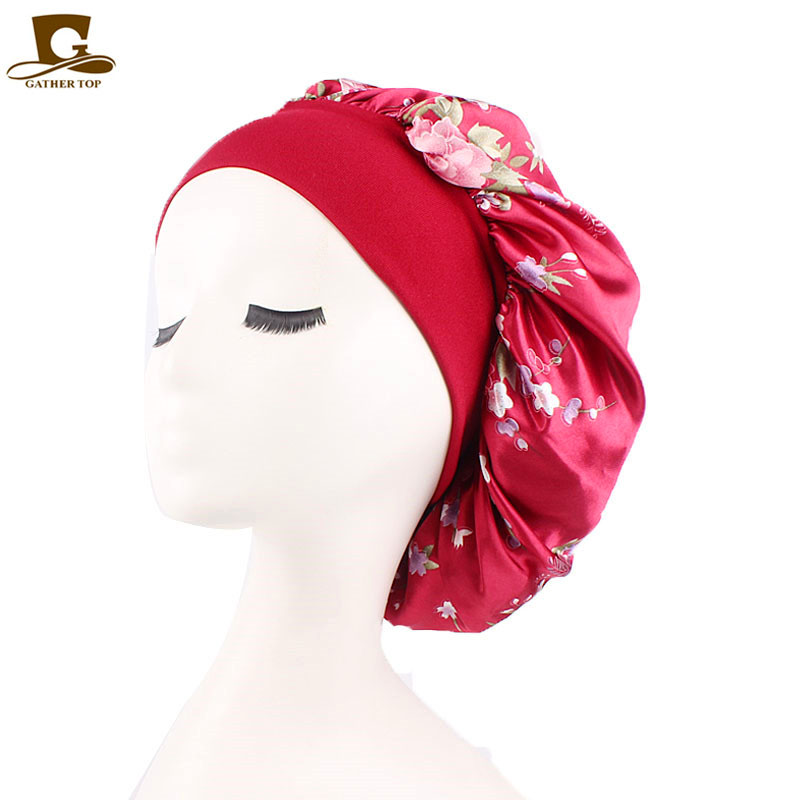New Women Sleep Night Cap Wide Band Floral Print Satin Bonnet Beauty Ha