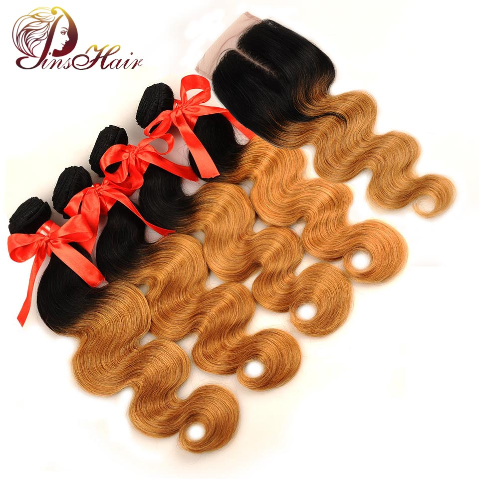 Pinshair Pre-Colored Ombre Peruvian Body Wave Hair With Closure Honey Blonde 1B 27 Human Hair 4 Bundles With Closure Non Remy