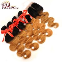 Pinshair Pre Colored Ombre Peruvian Body Wave Hair With Closure Honey Blonde 1B 27 Human Hair 4 Bundles With Closure Non Remy