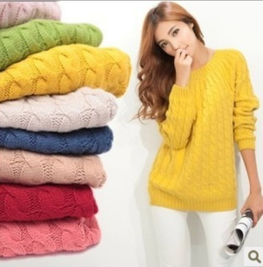 2017 Win-win new Long Sleeve O-neck Soild  Color In Stock Jacquard Women Pullover Sweater Fashion Style