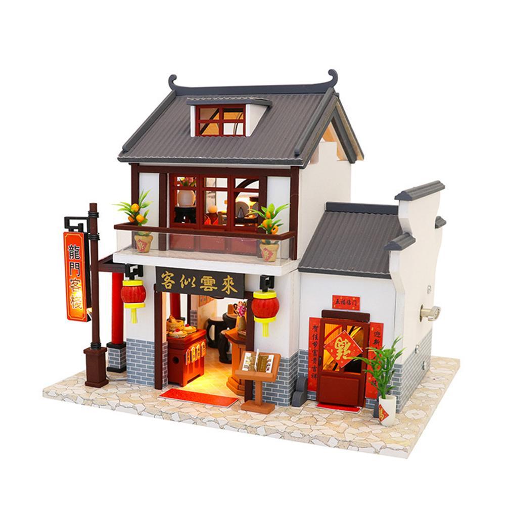 Nuevo Casa Hut Hecha Diy Mano Longmen Juguete Modelo Innovador De Led Iluminación Madera Inn A OyNP0v8wmn