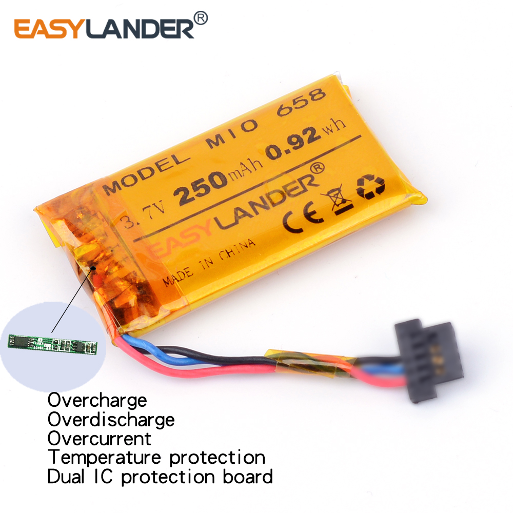 Driving recorder 3.7V 250mAh Rechargeable li-Polymer battery For DVR MIO mivue 368A 528 536 408A MIO mivue 658 668 688 772 mio mivue 658