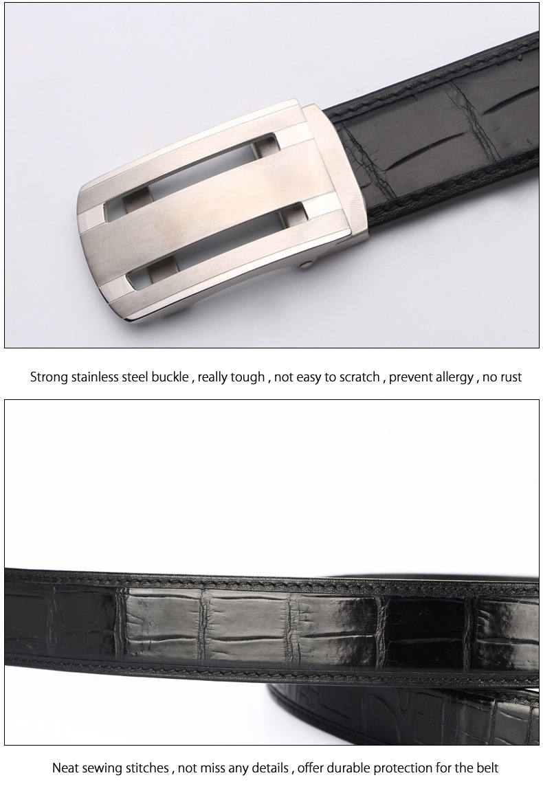 Mcparko Genuine Alligator Leather Belt Men Agate Inlaid Automatic Buckle Real Crocodile Belt Luxury Brand Birthday Gift Male Elegant And Sturdy Package Apparel Accessories
