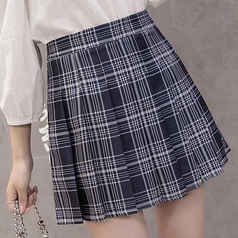 809691646a52ad ... ZuoLunOuBa2019 new Fashion High Waist Pleated Skirt Female College Wind  girl Kawaii Pink lattice Summer skirts ...