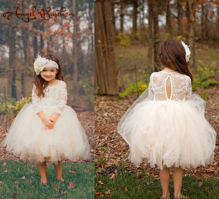 long sleeves ball gown puffy little kid ivory beads crystals flower girl dress sheer lace keyhole back toddler gown for wedding pleated panel keyhole back dress