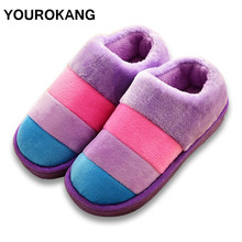 Women Shoes Winter Warm Ladies Home Slippers Striped Indoor Thicken Furry House Plush Slippers For Lovers Couple Shoes цена и фото