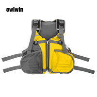 Kayak life jacket Fishing life vest profession Tear resistance of fabric yellow red green Free size less 110KG >9.5kg