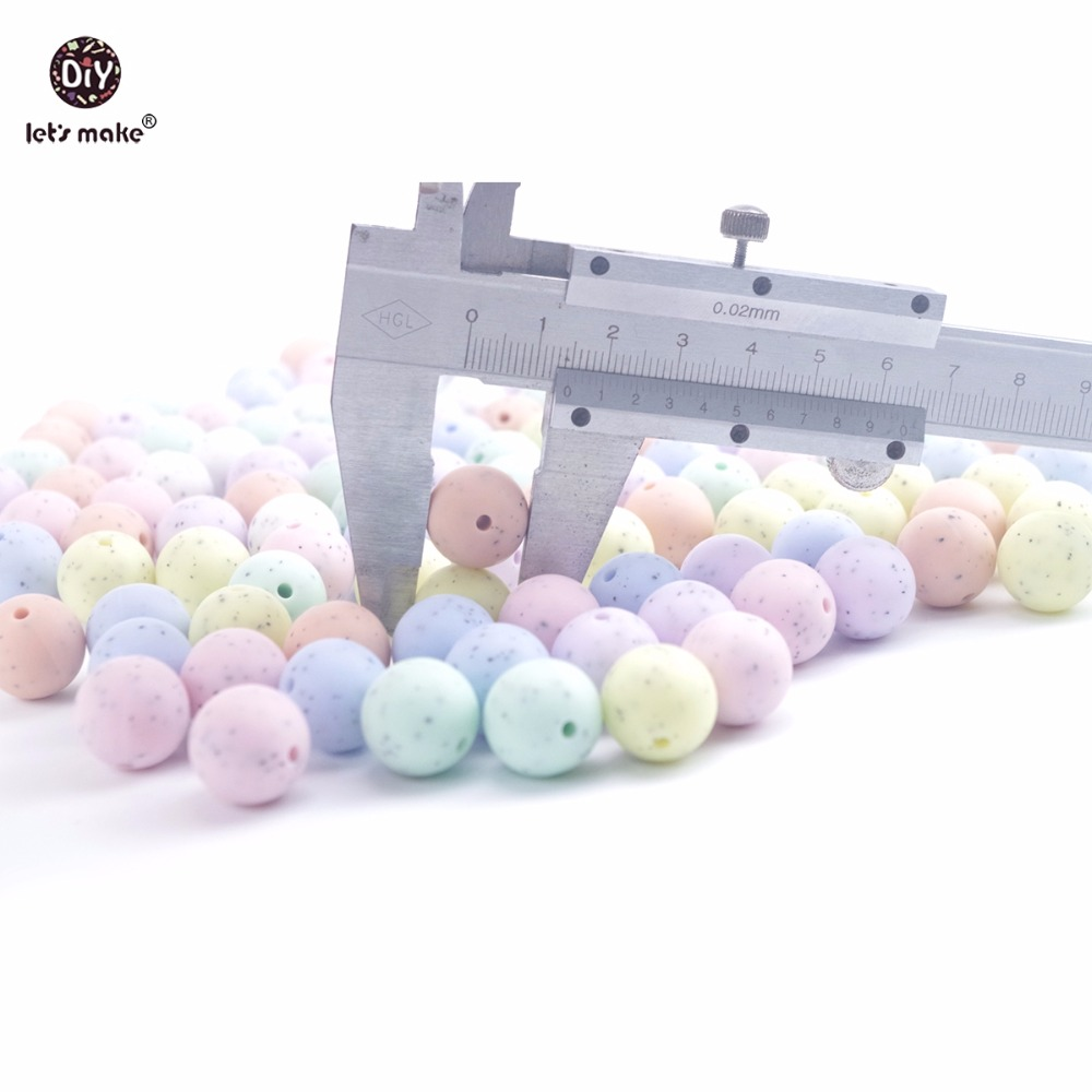 Lets Make 100PCS 15mm Silicone Sesame Candy Colors Round Beads DIY Teething Necklace Chewable Silicone Beads Baby Teether