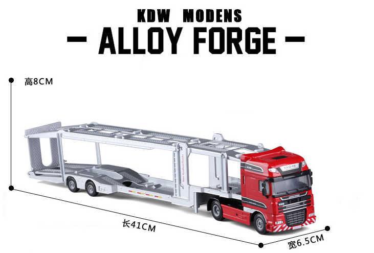 1:50 Platform Kendaraan Model Paduan Diecast Double-Deck Mobil Transporter Datar Trailer Truk Mainan untuk Anak-anak Natal hadiah