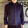 Mens plaid camisa de los hombres de moda de estilo japonés breve plaid camisas de botón de madera rústica