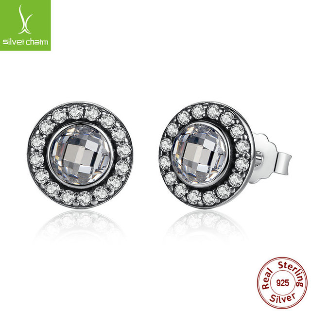 Genuine 925 Sterling Silver Brilliant Legacy Stud Earrings With Clear CZ For Women Original Jewelry Authentic Gift