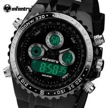 INFANTERÍA Hombres Del Reloj del Deporte Militar de Cuarzo Resistente Al Agua Relojes de Silicona LED Digital Relojes Hombre Reloj Relogio masculino