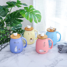 Kawaii Color Cat Mug Heat-resistant With Lid Spoon 420ml Cup Cartoon Kitten Coffee Ceramic Mugs For Kids Women Office Drinkware-cashback