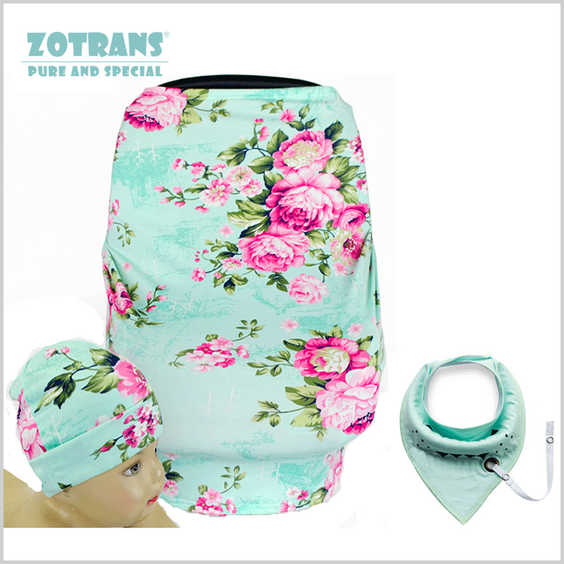 Nursing Cover Multi-Use Breathable Stretchy Baby Car Seat Cover Flowers Style Infant Cotton Mum Breastfeeding with Baby Bibs/Hat
