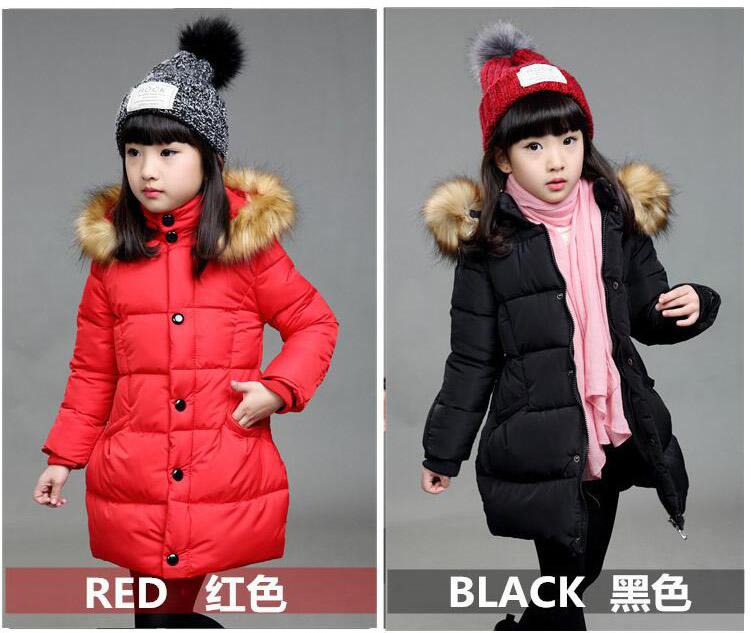 2016 Children Parka Girls Winter Coat Long Duck Down Thick Cotton-padded Hooded Winter Jacket For Girls Warm Wadded Coat new 2017 winter cotton coat women slim outwear medium long padded jacket thick fur hooded wadded warm parkas winterjas cm1634