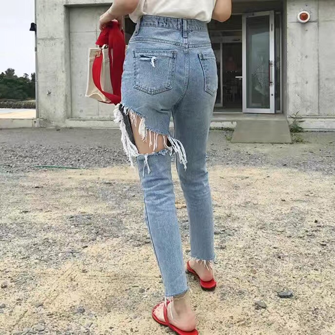 Ripped Jeans Women 2018 Spring Autumn New Denim Long Pants Korean Casual Bleached Hole Straight Sexy Pocket Trouser