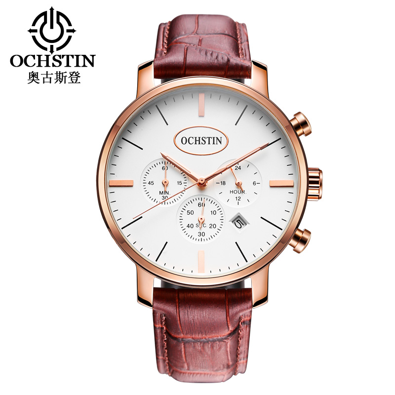 ?Men Classic Watches Luxury Top Brand OCHSTIN Fashion Men Big Dial Leather Quartz Watch Male Clock Wristwatch Relogio Masculino