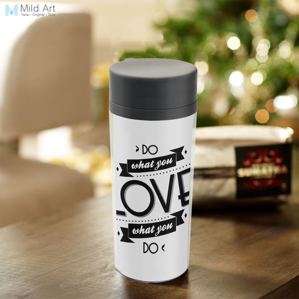 Personalized Drinkware BPA Free Plastic Insulated Modern Motivational Typography Do What You Love Quote Water Bottles 300ml Gift image