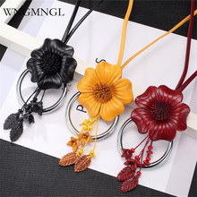 WNGMNGL 2018 New Women Long Necklaces Vintage Genuine Leather Flower Pendant Necklace for Charm Statement Fashion Jewelry