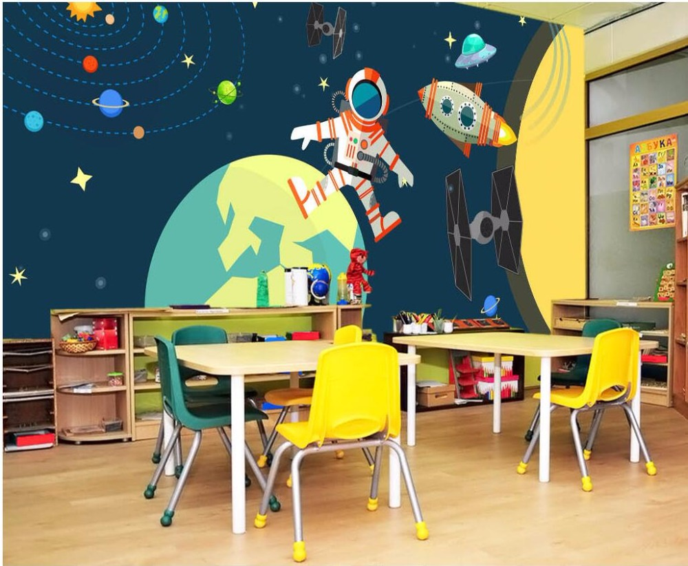 Custom mural photo 3d wallpaper Cartoon star planet moon astronaut room decor painting 3d wall murals wallpaper for walls 3 d 3d wall murals wallpaper for living room walls 3 d photo wallpaper sun water falls home decor picture custom mural painting