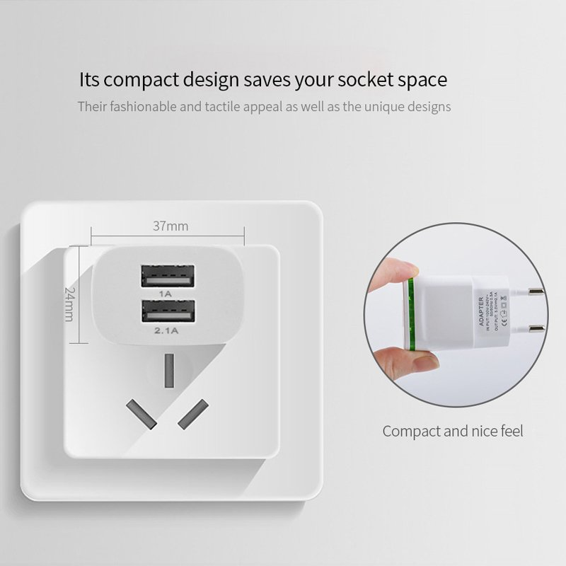 5V/2.1A Wall Charger EU Plug US Adapter 2 USB Quick Travel Charger For Samsung Galaxy S9 S9 Plus S8 <font><b>S7</b></font> S6 <font><b>Edge</b></font> S5 S4 S3 Mini S2
