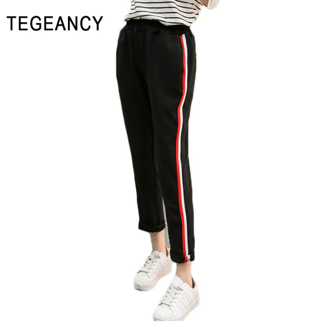 Casual Cotton Pants Female Autumn Harem Pants Women Striped Loose Pantalon Elastic Waist Black Long Pantalones Mujer Trousers