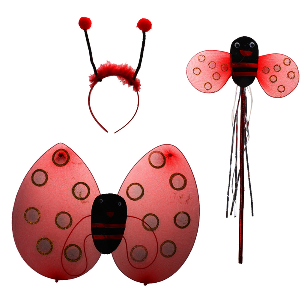 3 Pcs Ladybird Honey Girls Kids With Wings Headband Fairy Halloween Christmas Fancy Dress Up Party Costume