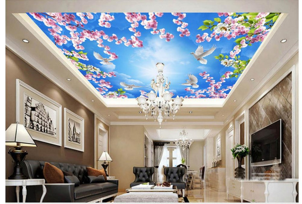 3d customized wallpaper Home Decoration 3D Peach Blossom Pigeon Sky Ceiling Fresco 3d ceiling murals wallpaper in Wallpapers from Home Improvement