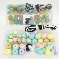 Set Plastic Box Combination Package Silicone Loose Bead Candy Color Teether Silicone Teething Beads DIY Handmade