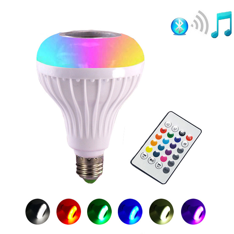 JLAPRIRA Smart RGB RGBW E27 Wireless Bluetooth Speaker Bulb Music Playing Dimmable LED Light Lamp with 24 Keys Remote Controller