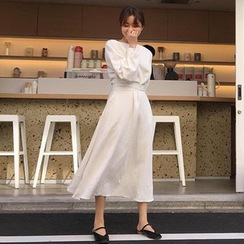 CHICEVER Autumn Dress Female O Neck Long Sleeve High Waist Bow Bandage White Long Dresses For Women Korean Fashion Elegant 2020 3