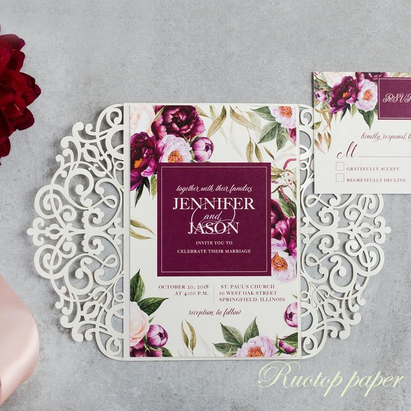 50pcs Free Shipping peel Paper Elegant Floral Luxury Wedding Invitation With Hollow Laser Cut Invitation Card