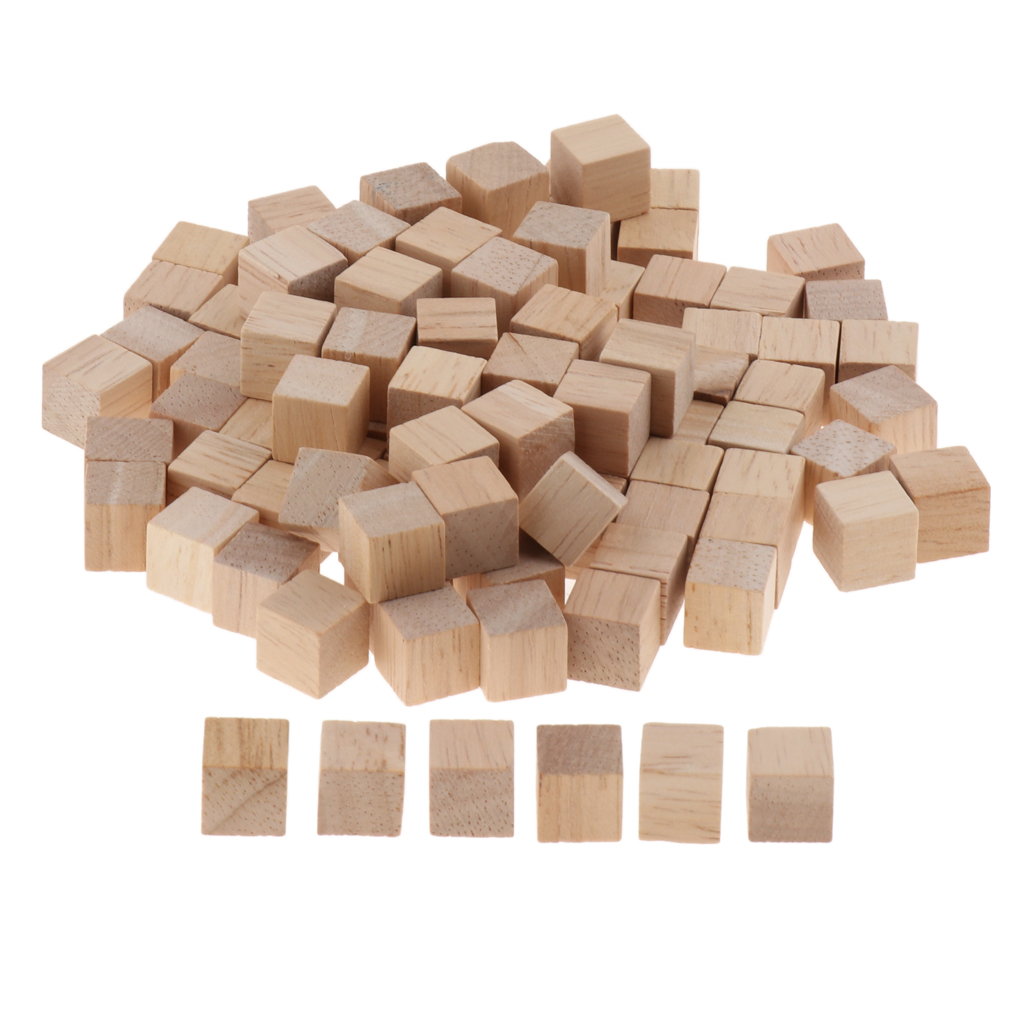 100pcs 1cm Blank Wooden Cubes Wood Blocks For Kids Baby Shower DIY Crafts Carving Art Supplies