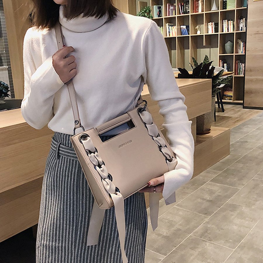 Pu Solid Color Women's Handbags Fashion Ribbon Crossbody Bags For Women Large-capacity Leather Women Purses Ladies Shoulder Bags