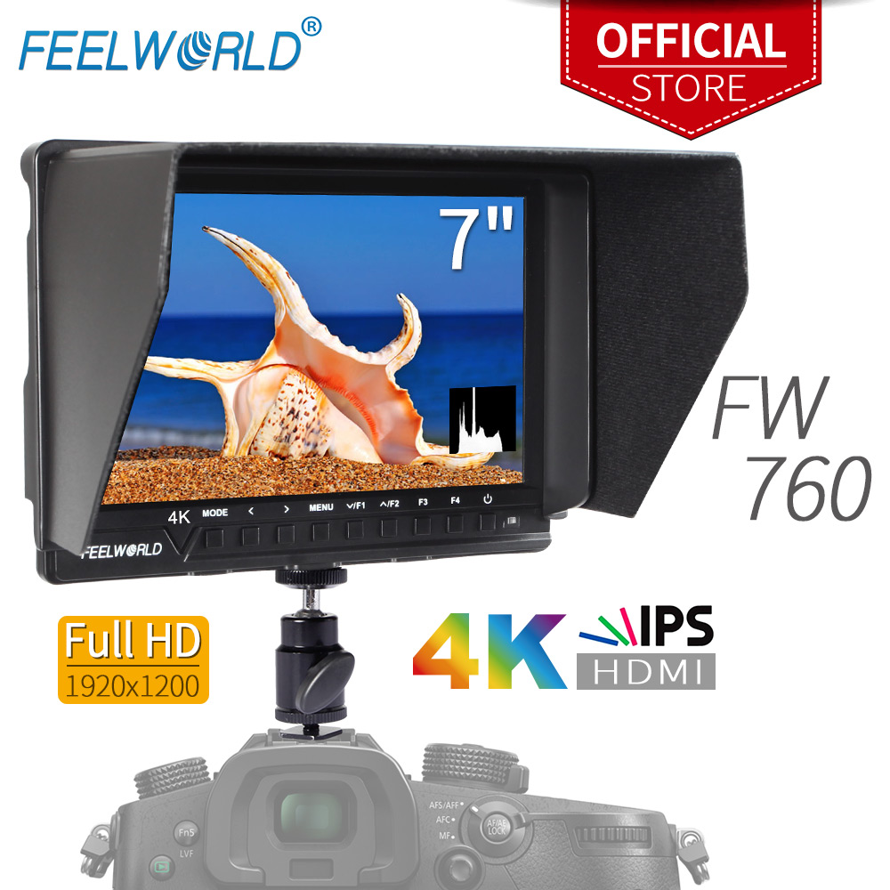 Feelworld 7 Inch IPS 4K Full HD 1920x1200 HDMI On-Camera Field Monitor with Peaking Focus Assist Histogram Zebra FW760 мобильный телефон philips xenium e560 black