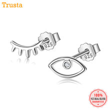 9063d68ae0e5 Trusta de Plata de Ley 925 joyería de las mujeres de moda pequeño 8mm X 5mm  de ojo pendientes
