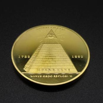 Símbolo del mundo masónico de EE. UU., moneda de oro, pirámide egipcia, valor de colección de monedas conmemorativas