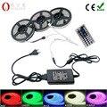 5050 RGB LED luz de Tira 30 LEDS 5 m 10 m 15 m flexível Levou Diodo Fita led RGB SMD 44 teclas de IR controlador 12 V Power Adapter set
