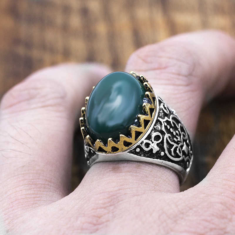 Vintage ทิเบต Silver/Gold Big Green Stone แหวน Boho โบราณอินเดียหินธรรมชาติแหวนผู้หญิงเครื่องประดับสุภาพสตรี Gif