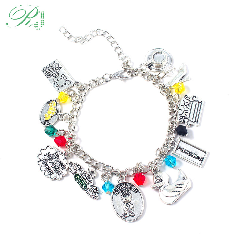 RJ New Fashion TV Show Friends Bracelets Central Perk Coffee Time Smelly Cat Charms Bangles For Women Girl Jewelry Xmas Gift