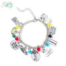 RJ New Fashion TV Show Friends Bracelets Central Perk Coffee Time Smelly Cat Charms Bangles For Women Girl Jewelry Xmas Gift to4rooms стол perk