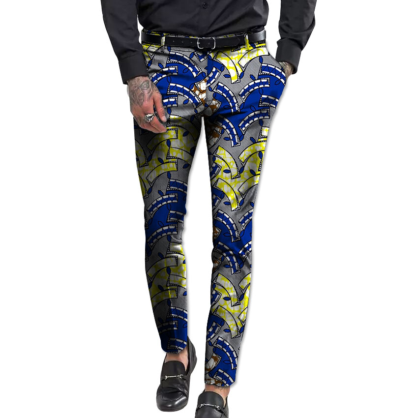 Africa Men Print Pants Slim Fit Man African Trousers Festive Pattern Ankara Pant For Men Dahiki Customized For Party/wedding