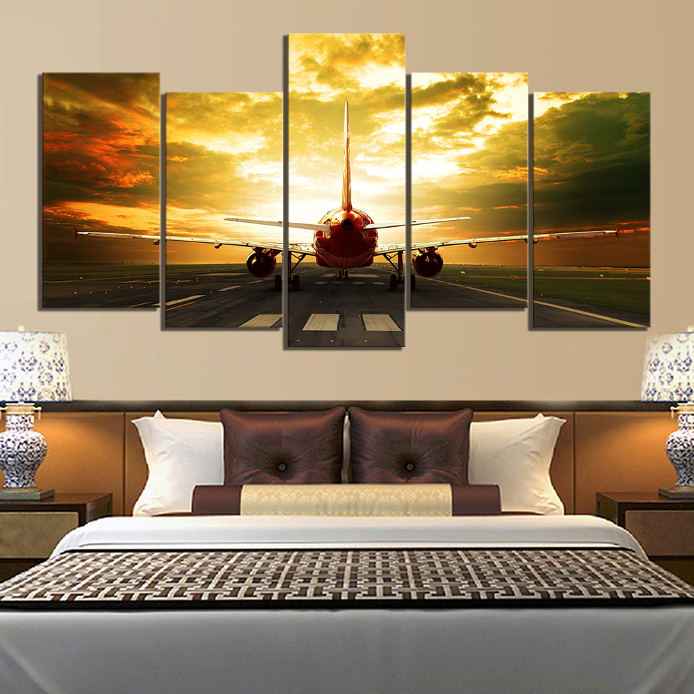 5 Piece HD Military Airplane Pictures Paintings Aircraft Plane Poster Canvas Paintings Landscape Wall Art for Home Decor 3