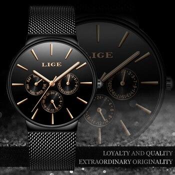 Heren Horloges LUIK Top Merk Luxe Waterdichte Ultra Dunne Datum Klok Mannelijke Stalen Band Casual Quartz Horloge Mannen Sport Horloge