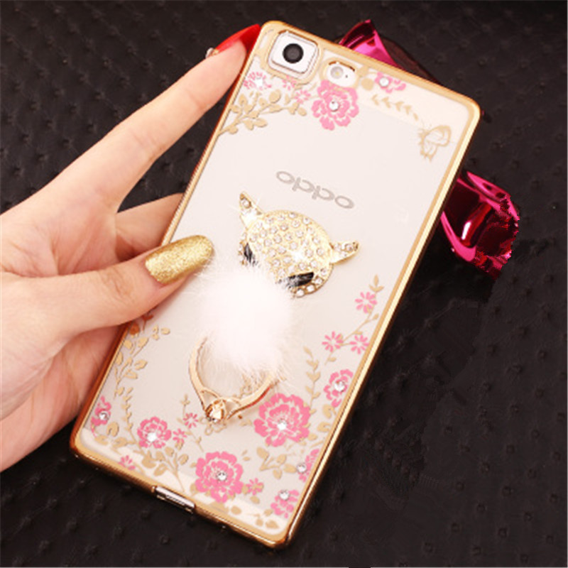 Bling Diamond Case For OPPO A83 A79 A77 A73 F5 A71 A59 F1S A57 A51T A53 Finger Ring Kitty Peacock Holder Phone Case