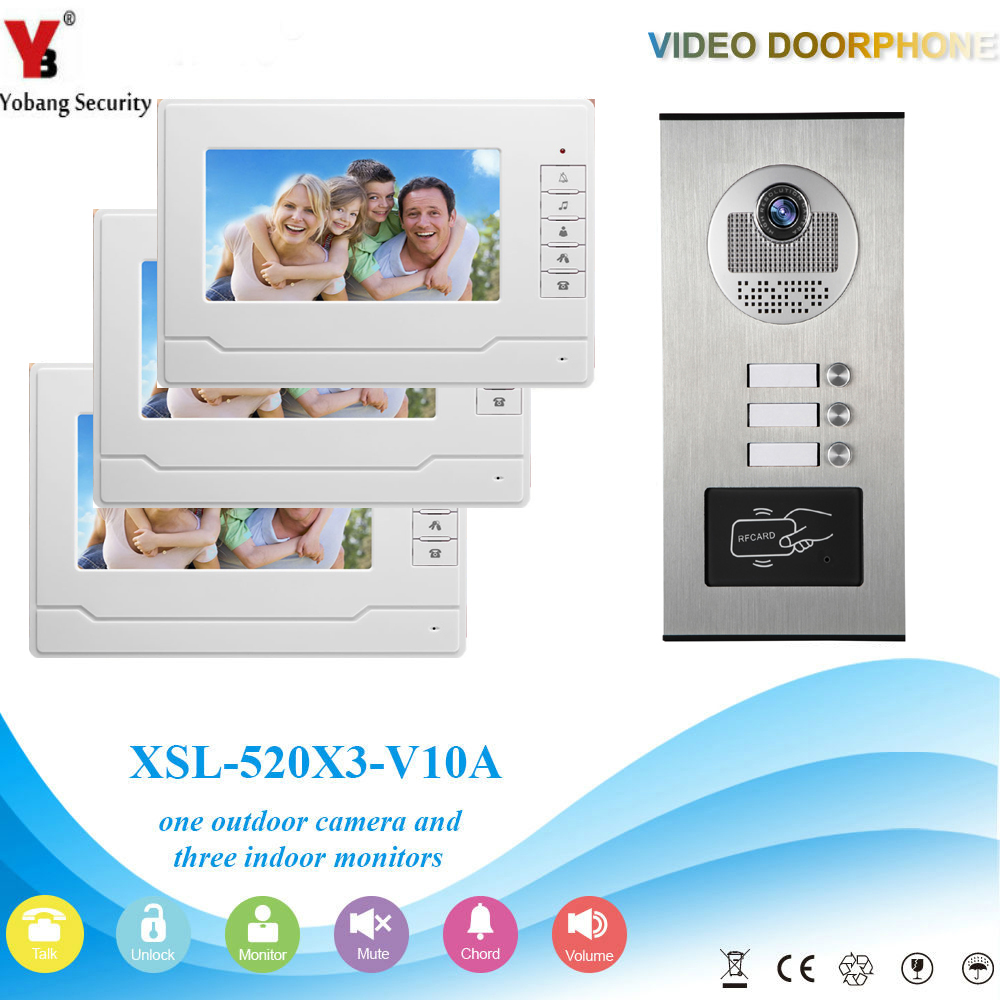 YobangSecurity 3 Unit Apartment RFID Access Control Video Intercom 7Inch Wired Video Door Phone Doorbell Intercom Camera System yobangsecurity 8 unit apartment video intercom wired 7 inch color hd video phone doorbell intercom access system 8 monitor