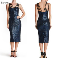 Navy Blue Red Black Sequin Bodycon Dress Women Summer Backless Split Spaghetti Strap Sparkly Sexy Party
