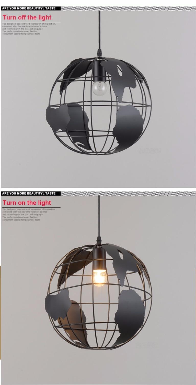 Современный подвесной светильник в скандинавском стиле с шаром, карта мира, E27, лампа белого и черного цвета для гостиной, кафе, бара, лофт, винтажный светильник - 5