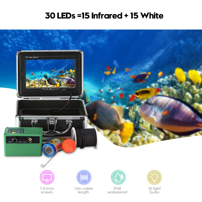 1000TVL 30LEDS 15infrared 15 white Underwater Fish Finder EU US Plug Fishing Camera Fishfinder with 15m